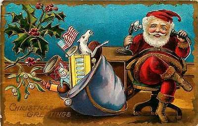 Christmas Santa Clause 1909 Telephone Toy Bag Collectible Gold Embossed Postcard Christmas Santa Claus 1909 Santa in office chair on telephone with bag of toys ready to go. Used collectible antique vi