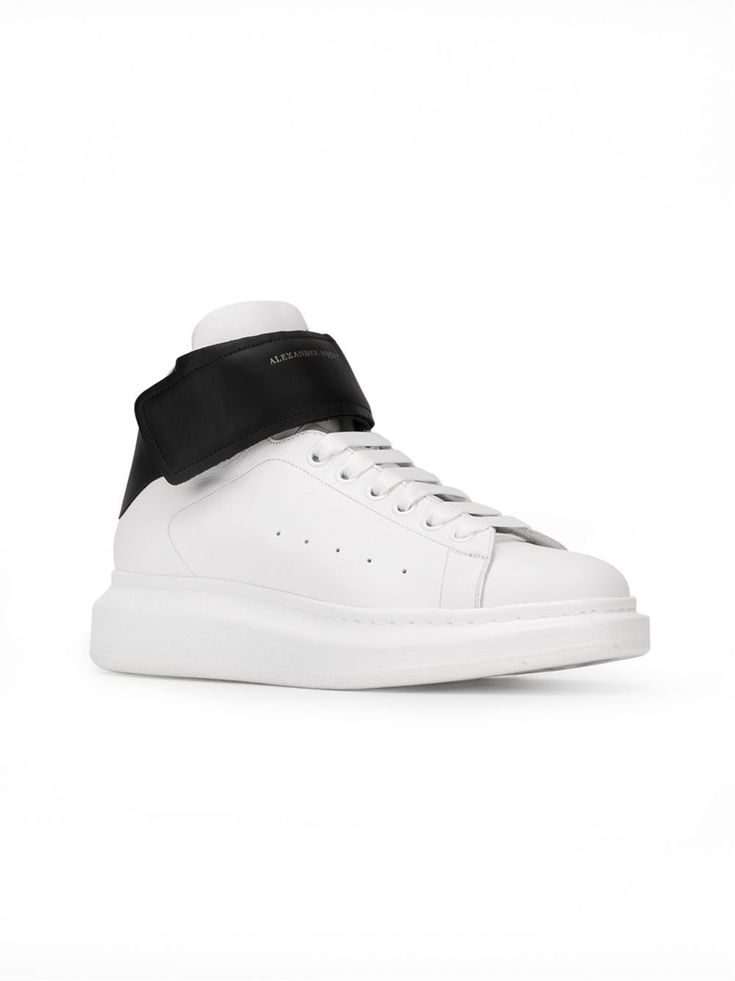 ALEXANDER MCQUEEN ALEXANDER MCQUEEN WHITE CALF LEATHER VELCRO STRAP HI-TOP SNEAKERS