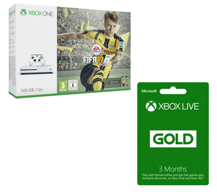 MICROSOFT  Xbox One S with FIFA 17 & 3 Month Xbox LIVE Gold Membership Bundle, Gold Price: £ 248.99 Pick up the latest Xbox console and grace the hallowed turf in FIFA 17 with the Microsoft Xbox One S with FIFA 17 & 3 Month Xbox LIVE Gold Membership Bundle . It includes one month of EA Access, which allows you to play games for a limited time before they're even released, as well as allowing...