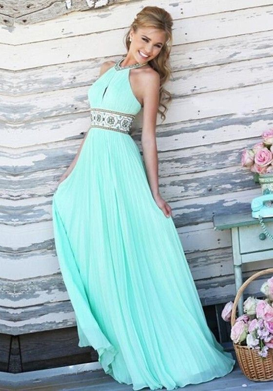 Blue Plain Belt Draped Beaded Round Neck Sleeveless Maxi Prom Dress