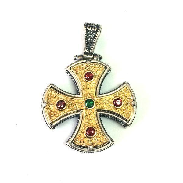 Oxidized Sterling Silver Byzantine Style Cross Pendant