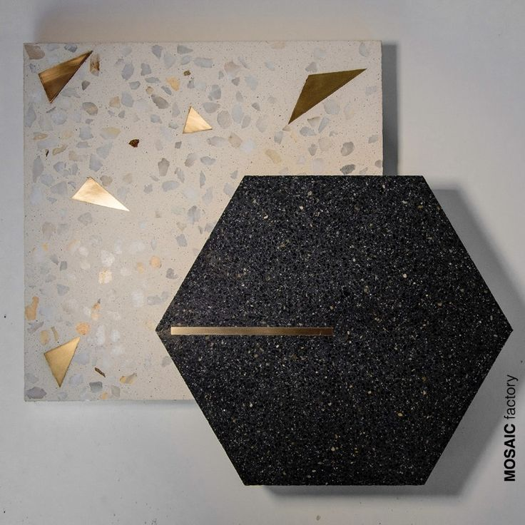 Black Hexagon Terrazzo Tile With Brass Inlay From Mosaic Factory Black And Gold Terrazzo Tile