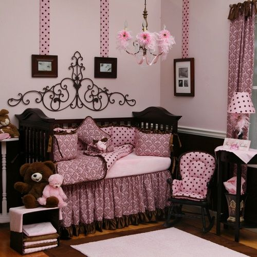 this is TOTALLY her room!!!!!!  Pink and Brown Baby Girl Bedding | Pretty Pink and Chocolate Damask Crib Bedding | Carousel Designs