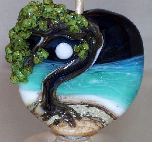 seatree ocean handmade lampwork focal glass bead sra