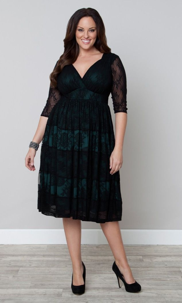 Tiers of Joy Lace Dress in Black Lace/Deep Teal Lining | Stylish Plus - Plus Size Clothing Australia