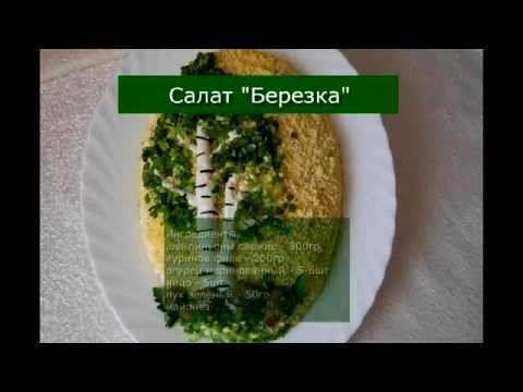Вкусный салат с куриным мясом, сыром и грибами «Березка»