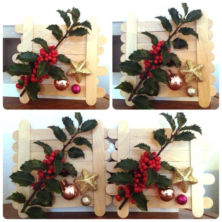 Vánoční dekorace ze špachtlí s cesmínou :)