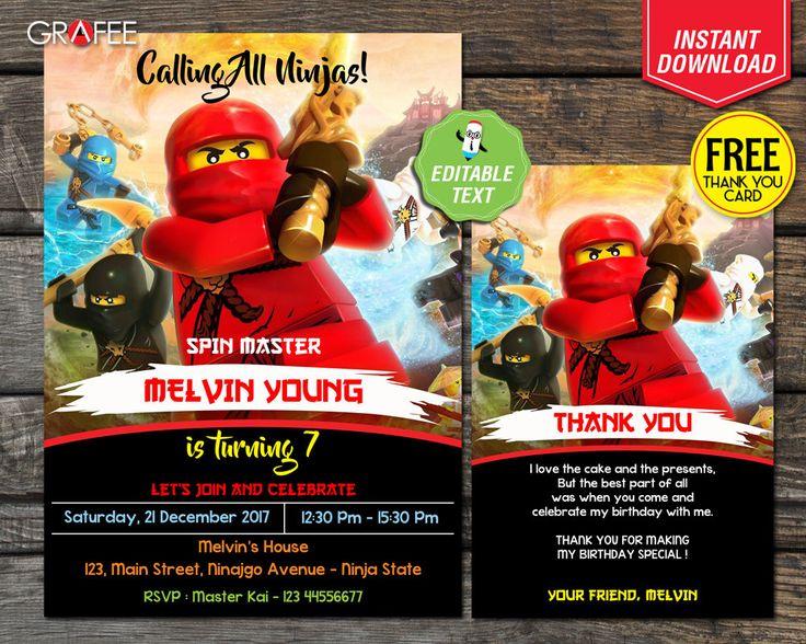 Lego Ninjago Invitation 5x7 - EDITABLE Text - Lego Ninjago Birthday Party Card - Instant Download - Lego Ninjago Customize - Free Thank Card by GrafeePrintables on Etsy
