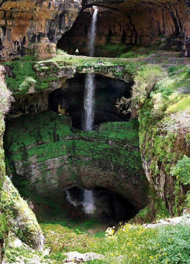 Cachoeira Gorge Baatara em Tannourine, Libano