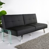 Found it at Wayfair - Jacksonville Leatherette Futon Sleeper Sofa in Black.  Could be used as a giant ottoman , providing extra seating.