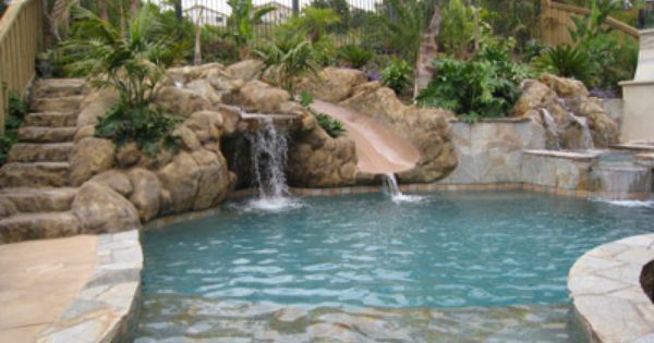 Grotto pool with slide | Pools | Pinterest | Grotto Pool, Pools and Shallow