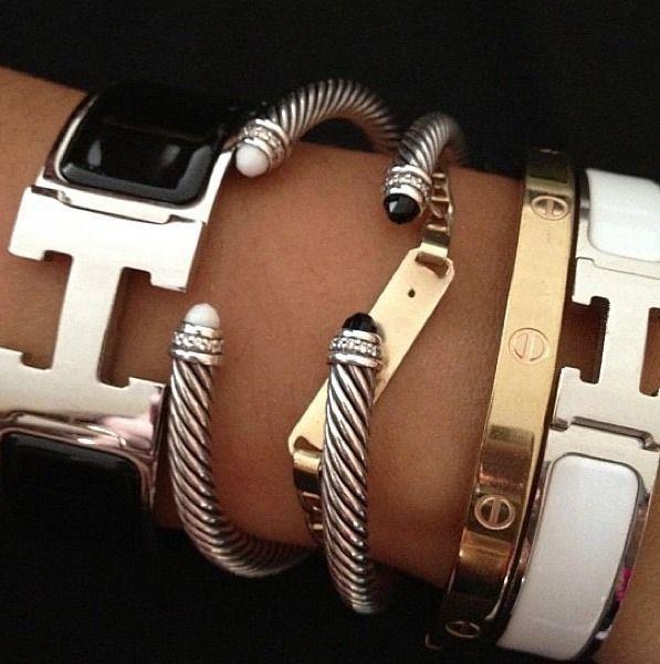 Hermes H bracelets, Hermes clic clac and david yurman stack
