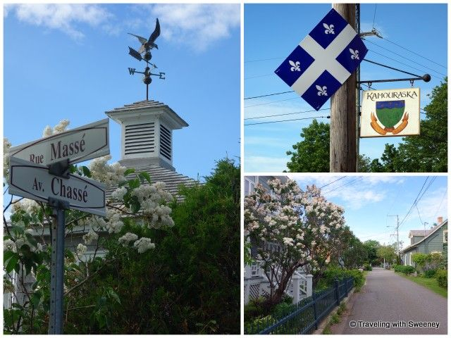 Characteristic weather vane on a Kamouraska home along one of the its short and lovely residential side streets; Kamouraska sign and Québec flag