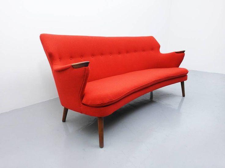 Danish Curved Back Sofa by Kurt Olsen for Slagelse Mobelvaerk | From a unique…