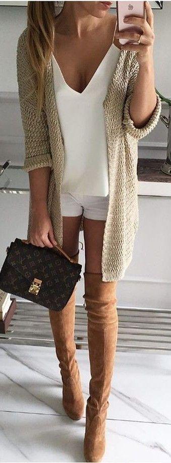 Beige Knit + White + Camel Overknees                                                                             Source