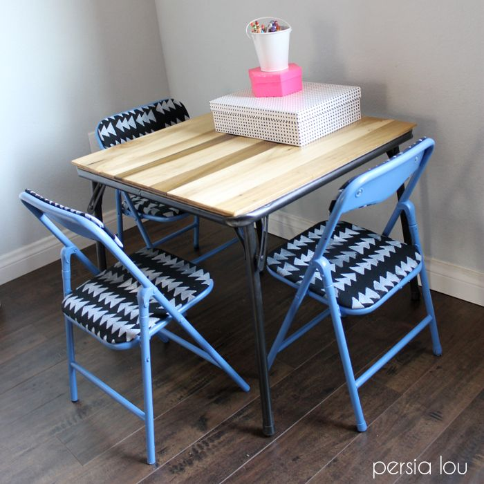 Persia Lou: Kids Table and Chairs Makeover hardtop idea for card table