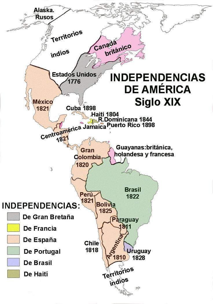 Conquista y colonización de (lo que hoy es) América. Primera ola de independencias, Siglo XIX.