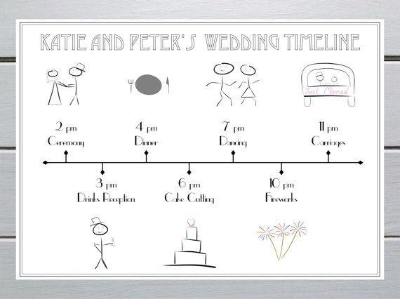 Wedding Timeline Invitations: Printable Digital Personalised Wedding Timeline: Cute