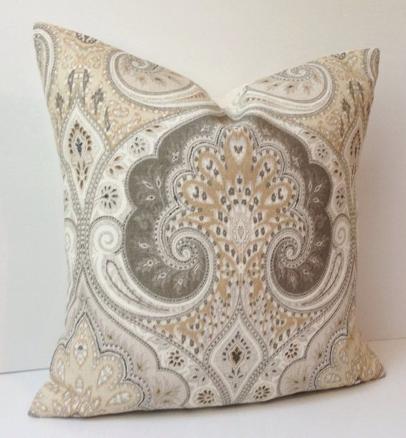 Damask Pillow Cover Decorative Throw Neutral Beige Cushion Accent 18x18 Inches Linen KRAVET
