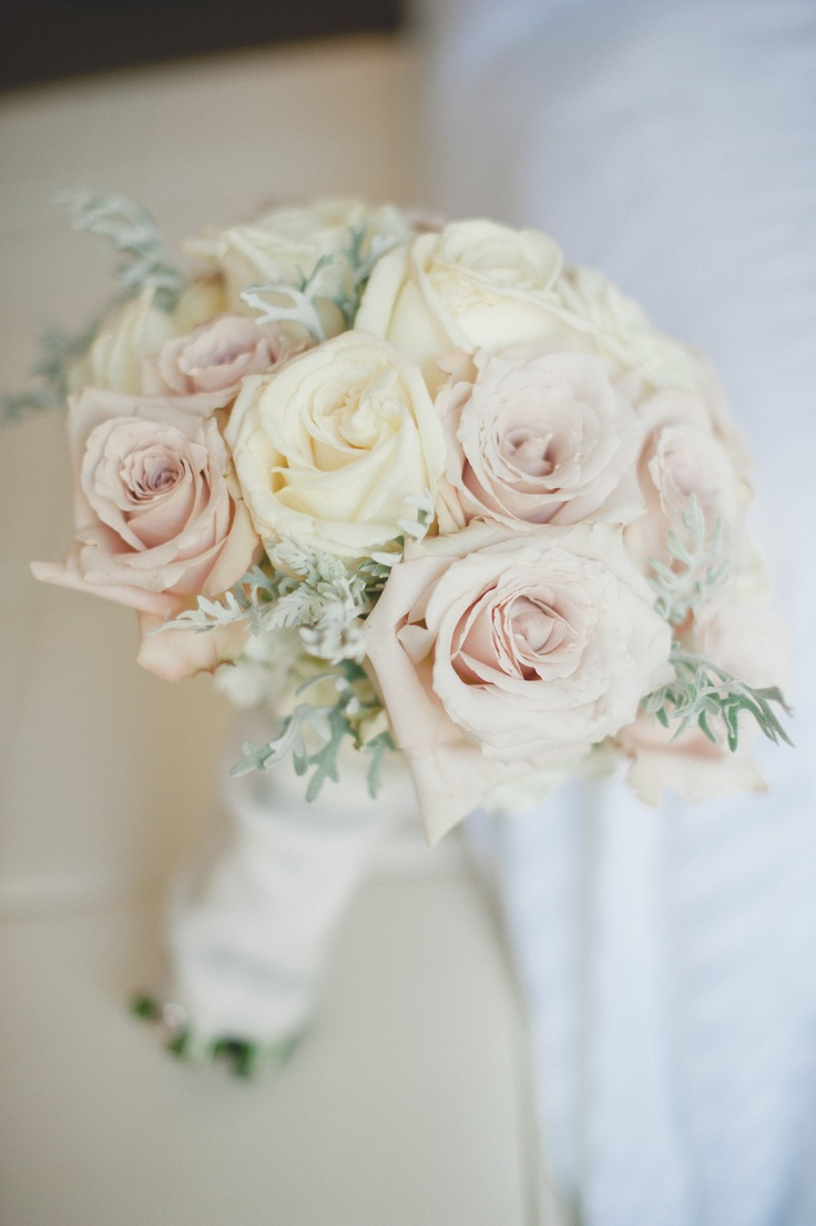 Champagne and Ivory roses with touches of dusty miller bouquet by Botanica