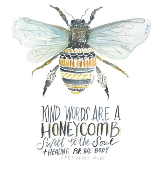 Kind words are a honeycomb. Sweet to the soul and healing for the body.