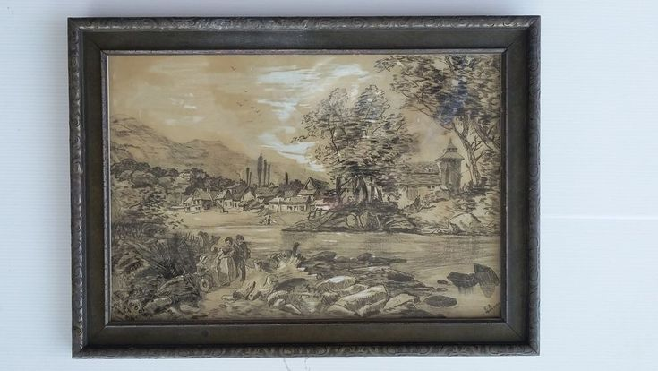 Beautiful, Antique, Chalk Drawing. Signed - monogram CB - dated 1891 year. | eBay