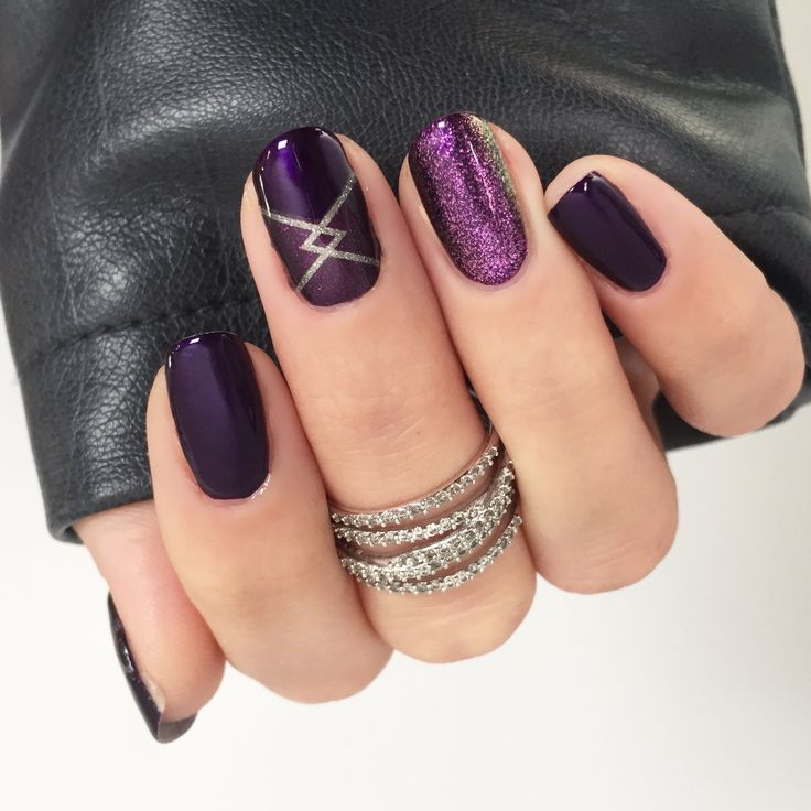 Jamberry mani using Masquerade and Opaline lacquers and a cut out of Uptown Girl. #jamberry #mani #mixedmani #opalinejn #masqueradejn #uptowngirljn #diynails #purplenails