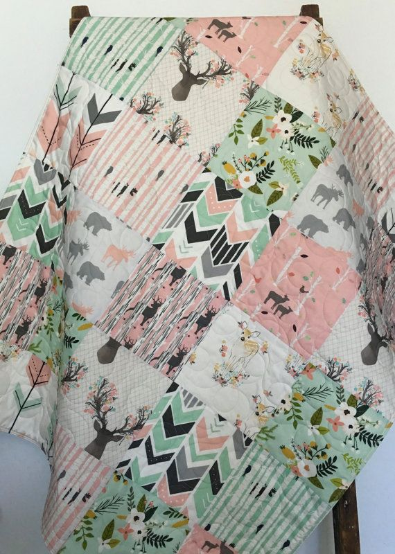 Baby Quilt Girl Deer Crib Bedding Baby Bedding Girl by CoolSpool