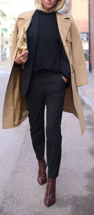 #winter #fashion / all-black + beige trench coat