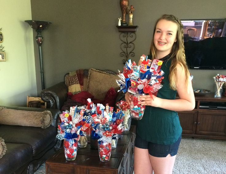 Julia is in full production helping make Candy Bouquets for our Re/Max clients! #newhome #candybouquet #realtorgift #sprucegrove