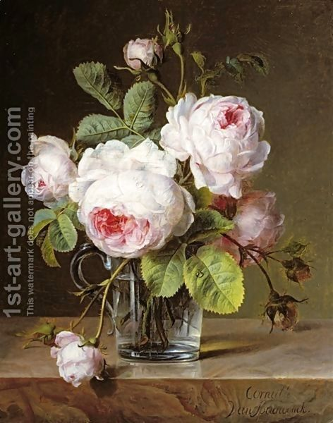 Cornelis van Spaendonck: Roses in a Glass Vase on a Ledge - reproduction oil painting