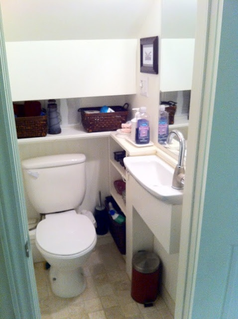Small Bathroom in that weird space under the stairs.  Perfect for the basement renovation.