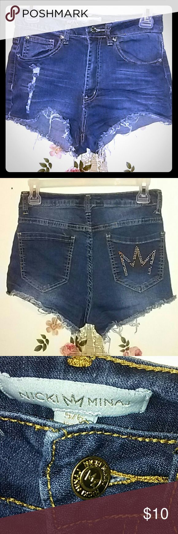 Nicki Minaj Shorts/Sized 5/6 Distressed. Size 5/6 . High Rise. .  decor on back M is missing some.  See last pic nicki Minaj  Shorts Jean Shorts