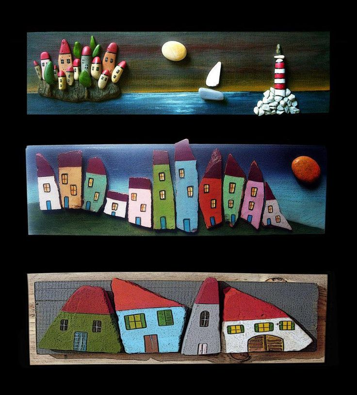 Sea, Sailboat & Houses - Pebble Art - Michela Bufalini