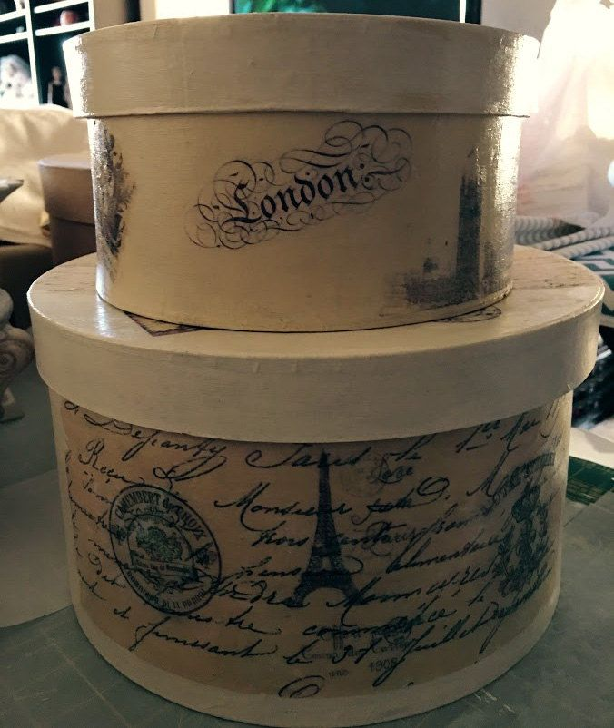 Paper Mache Box Beautiful Paris and London Travel Boxes/Storage Box/Gift Box Set of 2/Home Accent/Decorated Paper Mache/Hat/Decorated Boxes by Heartmadelinensgifts on Etsy