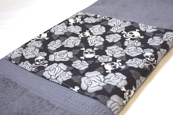 Grey Skulls & Roses Bath Towel by Pornoromantic on Etsy