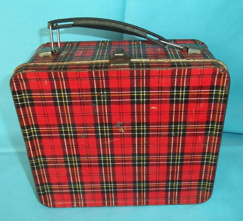 Vintage Red Plaid Aladdin Classic Metal Lunch Box 1960's. have one like this, used it for first grade in 1969. Found the thermos at Dad's house just recently!