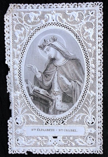 LOVELY ANTIQUE FRENCH SAINT ISABEL LACE HOLY CARD CAVINET | eBay