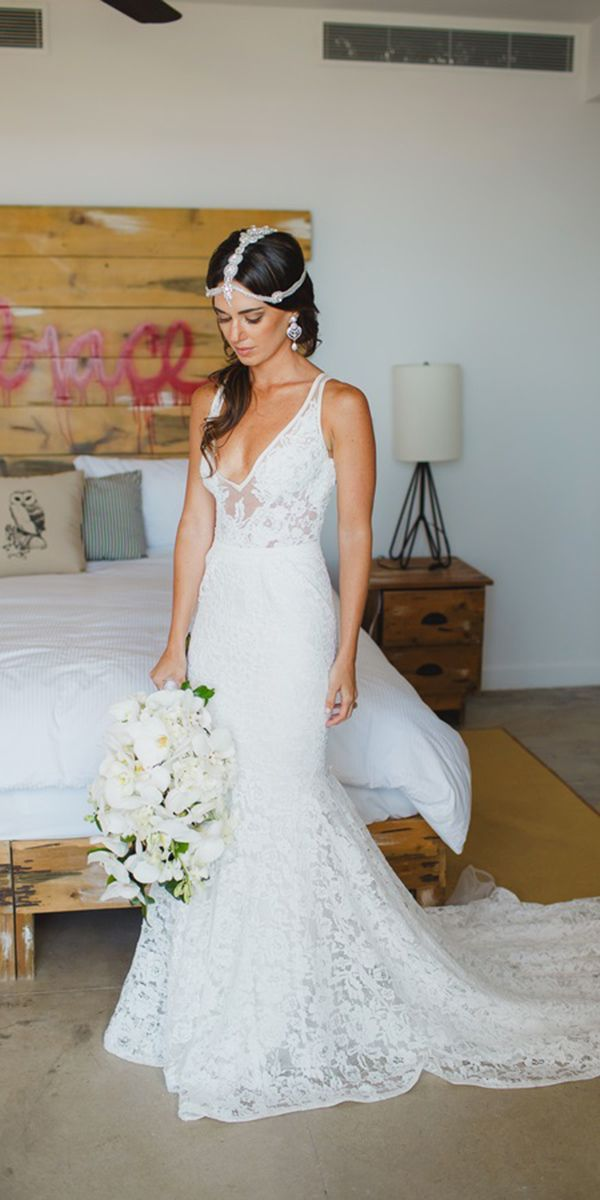 boho lace destination wedding dresses v neck