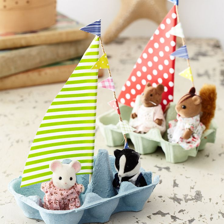 make a flotilla of egg box boats for the kids on rainy days