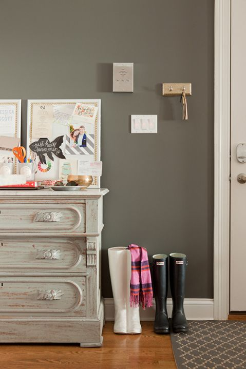 HC-166 Kendall Charcoal by Ben. Moore is a Historical gray that is timeless. It's on the warm side of charcoal and deep enough to add drama to any room. - Foyer?