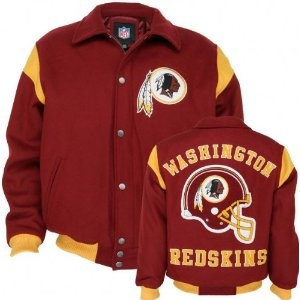LINE 3516 NFL WASHINGTON REDSKINS LETTERMAN STYLE JACKET FROM CLASSIC TEAM COLLECTS- WOOL