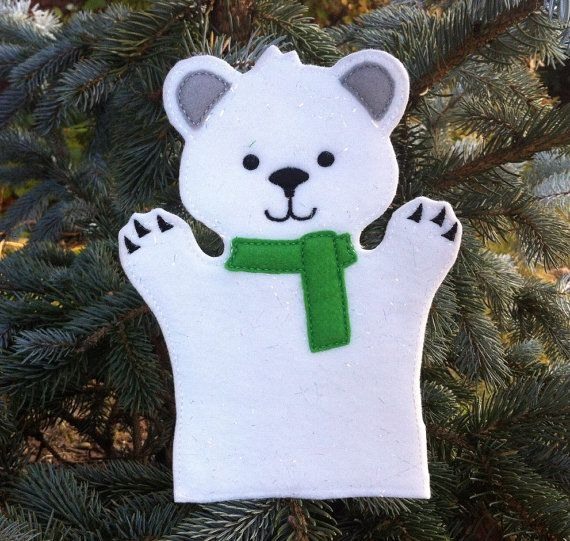 Polar Bear Hand Puppet  Christmas at the North by ThatsSewPersonal