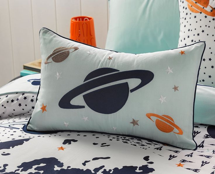 Take Off Oblong Cushion from Kids Bedding Dreams. Ideal for the boys bedroom or anyone that loves space and astronomy.