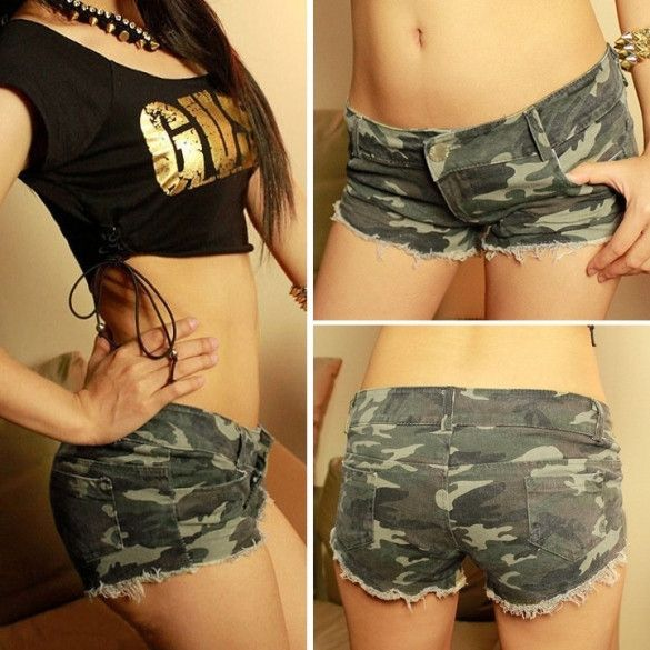 New Womens Camouflage Jeans Shorts Hot Pants Denim Low Waist Shorts