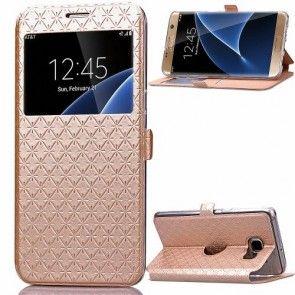 Husa Samsung Galaxy S7 Edge, Toto, Stand Birou, Piele Ecologica, Culoare Champagne