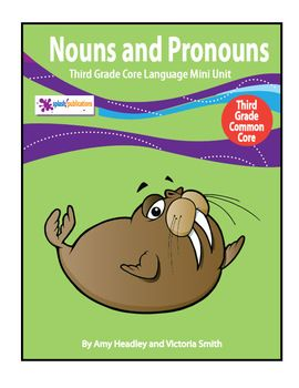 Our 3rd Grade Nouns and Pronouns Mini Unit includes 4 COMPLETE lessons aligned with these 3rd Grade Common Core Reading and Language Standards:    (CC.3.RI.1, CC.3.RI.4, CC.3.RI.5, CC.3.L.1a, CC.3.L.1b, CC.3.L.2a, CC.3.L.2d)    Common Nouns, Abstract Nouns, Proper Nouns, Singular Nouns, Regular and Irregular Plural Nouns, Possessive Nouns, Personal Pronouns, Possessive Pronouns, and Indefinite Pronouns are covered in this mini unit.