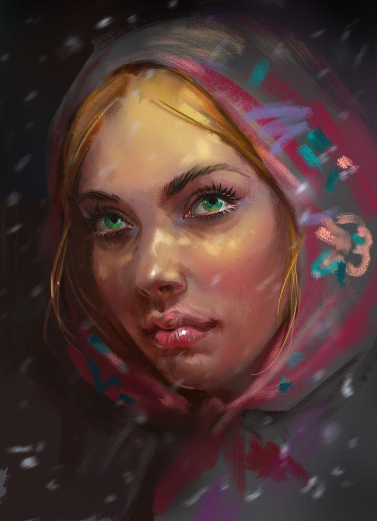 Портрет девушки в платке 09.09.15 on Behance