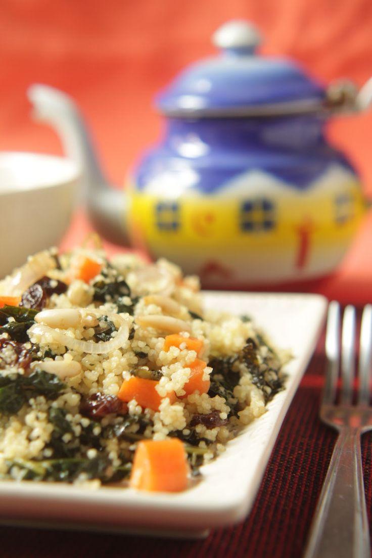 cucina verde dolce e salata: COUS COUS AGRODOLCE CON CAVOLO NERO, UVETTA E PINOLI