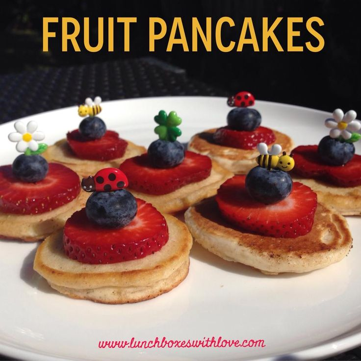 Delicious fruit pancakes. Made with banana and apple (no refined sugar). Fun food for kids!